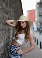 Laslusa İçten Ayarlanabilir Hasır Istiridye Kabuklu Geniş Kenar Şapka Bej